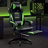 Luckracer Gaming Chair Office Desk Chair with Footrest Pu Leather High Back Adjustable Swivel Lumbar Support Racing Style E-Sports Gamer Chairs,Green