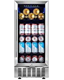 Beverage Cooler 15 Inch by Aobosi, 94 Cans Beverage Refrigerator Built-in or freestanding with Quiet Operation, Compressor Cooling System, Adjustable Shelves, Ideal for Beer, Soda, Water or Wine