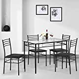 Kealive Dining Table Set with 4 Chairs Tempered Glass Top Kitchen Table Set Rectangular Table Furniture, Metal Frame Modern Table Set for Dining Room, Kitchen, Breakroom, Black