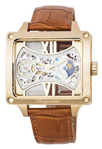 Burgmeister Herren Datum klassisch Mechanik Uhr mit Leder Armband BM234-205