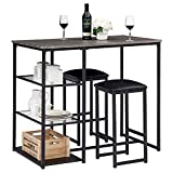 VECELO 3-Piece Pub Dining Set Counter Height Breakfast Table with Cushion Stools, Black