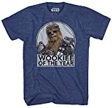 Star Wars Chewbacca Wookie Of The Year Porgs T-shirt (XXX-Large, Heather Navy)
