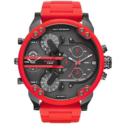Diesel Mens Mr. Daddy 2.0 Multi-movement Red Silicone Wrapped Stainless Steel Watch DZ7370