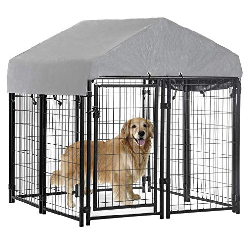 Welded Wire Dog Kennel Heavy Duty Playpen Included a Roof & Water-Resistant Cover 4'x4'x4.3'