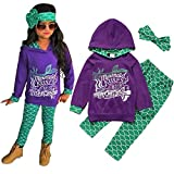 Mermaid Toddler Little Girls Outfit Set, T-Shirt/Hoodie Tops Pants with Headband Outfit Clothing Sets (5-6 Years, Hoodie Purple)
