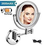 Allyine Wall Mounted Makeup Mirror Chrome, Lighted Double Sided Magnification 360 Swivel Extendable Cosmetic Vanity Mirror, Powered by USB Charging (Silver),10x