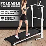 Fitnessclub Folding Manual Walking Treadmill, Non-Electric Incline Machine with LCD Monitor Display and Twin Flywheels for Home Gym, Cardio Stride Fitness Exercise Workouts Training Indoor
