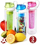 Fruit Infuser Water Bottle 3-pk 25 oz Infused Water Bottle Unique Fun and Healthy Motivational Infusion Rod Reusable Sports Infuser Bottle For Kids And Adults Multi-Color Set-BPA Free-  Herevin