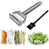 Sunkuka Julienne Peeler Stainless Steel Cutter Slicer with Cleaning Brush Pro for Carrot Potato Melon Gadget Vegetable Fruit