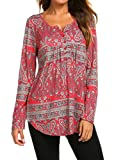Ladies Long Sleeve Tunic,Women Fall Henley V Neck Button Pleated Floral Tunic Blouse Shirt Red, L
