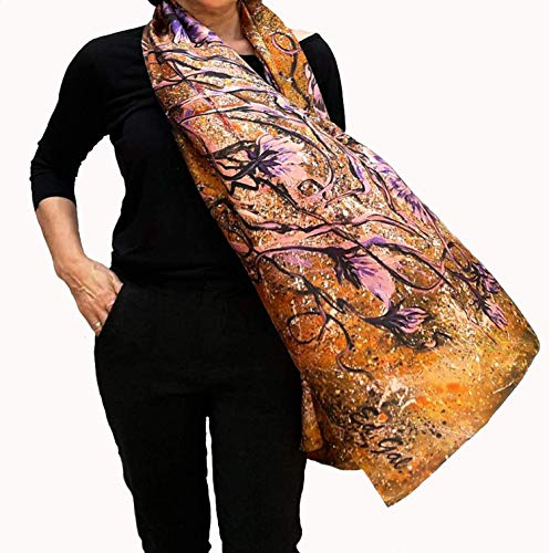 Large Silk Scarf Hand Painted Artistic Fashion Deluxe Shawl...