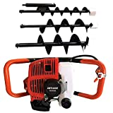 52cc 2.3hp 2-Stroke Air-cooled Gas Powered Engine Post Hole Digger Earth Auger with 3pcs 4'+6'+8' Drill Bits Earth Auger Engine USA STOCK