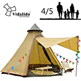 Vidalido 12'x10'x8'Dome Camping Tent 5-6 Person 4 Season Double Layers Waterproof Anti-UV Windproof Tents Family Outdoor Camping Tent(Yellow)