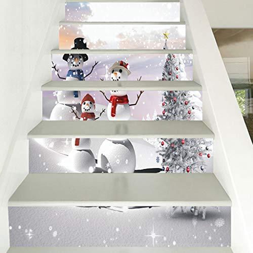 Shan-S Merry Christmas 3D Simulation Stair Sticker Snowman Reindeer...