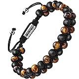 murtoo Bracelet en Pierre Naturelle pour Les Hommes, Braceletréglable de perlesavec Huile Essentielle Yoga comme Diffuser Bracelet pour Hommes (Petite Oeil de Tigre)