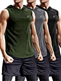 Neleus 3 Pack Workout Athletic Gym Muscle Tank Top with Hoods,5036,Black,Grey,Olive Green,US L,EU XL