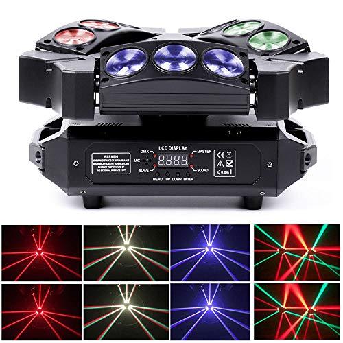GOTOTOP Bühnenlicht, 9 x 10 W LED Effektstrahler, Schwarz 12/19 Kanäle Effektlicht, Automatisch, Sound aktiviert, Fernbedienung für Show, Bar, Disco, Weihnachten, Halloween, KTV und Hochzeit