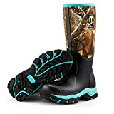 TideWe Hunting Boot for Women, Insulated Waterproof Durable 15' Women's Hunting Boot, 6mm Neoprene and Rubber Outdoor Boot Realtree Edge Camo(Green Size 8)