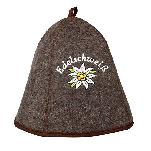Saunahut EDELSCHWEISS auch PERSONALIESIERBAR Saunakappe Saunamütze Sauna Filz Kappe Lustige Hüte (EdelPlus)