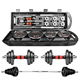 DD-home Adjustable Dumbbell Barbell Lifting Set 50Kg/110Lb Exercise & Fitness Dumbbells Free Weight Set with Connecting Rod Set for Men Women Beginners Home Gym Weights Stand Indoor Sports