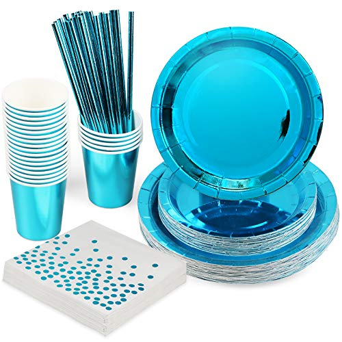 Rorchio Blue Party Supplies, Disposable Tableware Set Include Blue Paper Plates Dissert Plates, Napkin, Paper Straws for Men Birthday Party Supplies (Serve 12 Guest)