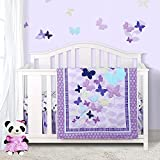 Sweet Baba Luxury 4 Piece Butterfly Crib Bedding Set,Purple Crib Set for Baby Girls,Microfiber Printed Nursery Bedding Set with Comforter/Skirt/2 Crib Sheets