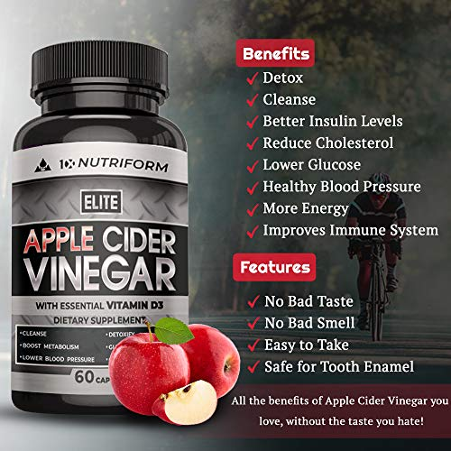Apple Cider Vinegar Complex Pills with The Mother, Cayenne Pepper, Ceylon Cinnamon, Vitamin D3 - Overall Health Supplement, Natural Detox and Cleanse, Digestion, Weight Loss – Premium Non GMO ACV 5