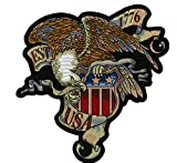 Vintage Eagle US Shield Military | Large Embroidered Patriotic Flag Motorcycle Jacket Back Patch Iron On - by Nixon Thread Co. (12')