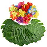 KUUQA 60 Pcs Tropical Party Décoration Fournitures 8'Tropical Palmtera Feuilles de Feuilles et Fleurs d'hibiscus, Feuille de Simulation pour Hawaiian Luau Party Jungle Beach Thème Table décorations