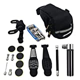 Excellent Home Bike Tire Repair Kit and Mini Bike Pump - for The Presta and Schrader Glueless Puncture Repair Kit (Up to 120 PSI) for Road Mountain Bikes and BMX Bikes with Bike Tail Bag