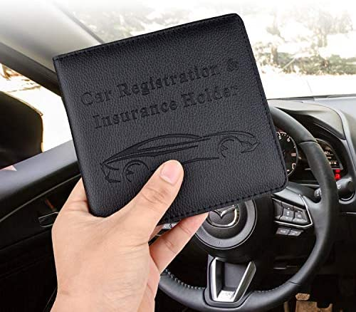 Car Registration and Insurance Holder, Vehicle Glove Box Car Organizer Men Women Wallet Accessories Case for Cards, Essential Document, Driver License by Cacturism, Black 18