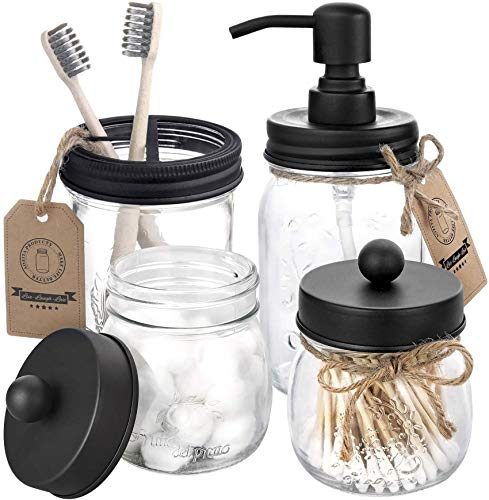 Mason Jar Bathroom Accessories Set 4 Pcs - Mason Jar Soap Dispenser & 2 Apothecary Jars & Toothbrush Holder -...