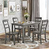 Merax Farmhouse Style Kitchen Table Set, 5 Piece Wooden Dining Table Set, Rectangular Table and 4 High Back Chairs for Small Space (Grey)