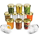 Bormioli Quattro Stagioni Wide Mouth Mason Jars 10 ¾ Ounce Glass Jar with Metal Airtight Lid Canning Jar for Jam, Jelly, Honey, Great Pickling, Preserving, Meal Prep, Food Storage, Salad Jar (12 Pack)