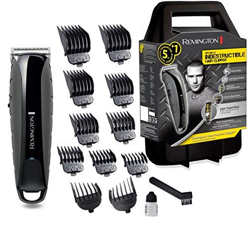 Remington Haarschneidemaschine Profi Indestructible (schlagfestes Polycarbonat-Gehäuse, 7,4V Friseur - Motor, 11 Aufsteckkämme, Netz-/Akkubetrieb, Aufbewahrungskoffer, Lithium) Haarschneider HC5880