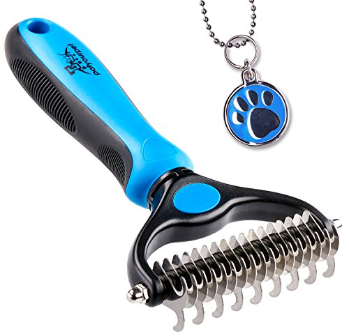 Pet Grooming Tool - 2 Sided Undercoat Rake for Cats & Dogs - Safe...
