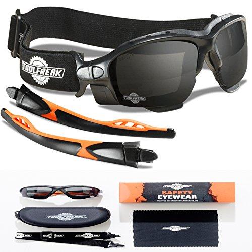 Spoggles di sicurezza Premium by ToolFreak, Combinazione perfetta di occhiali protettivi (lente fumo...