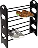 Flipzon Shoe Rack Cabinet Organiser 4 Shelves,(Iron and Plastic) (Black)