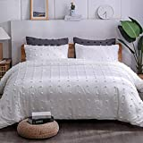 Paxrac Tuffed White Comforter Set King Size(104x90 inches), 3 Pieces- 100% Soft Cotton Lightweight Comforter with 2 Pillowcases, Chenille Dots All Season Down Alternative Comforter Set for Bedding