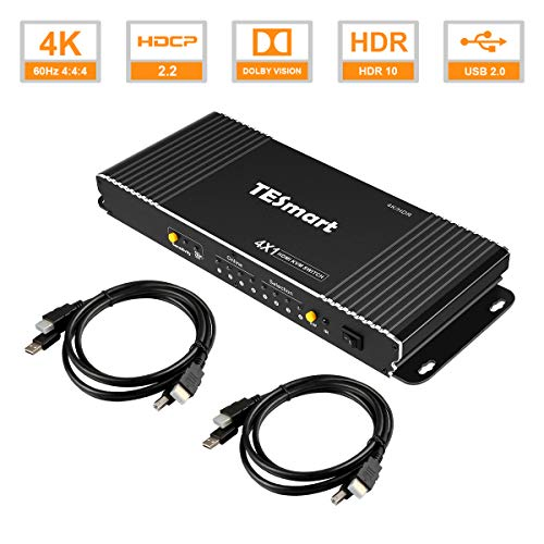TESmart KVM Switch hdmi Newest 4 Port KVM Switcher Box with Remote (Black) Supports HDR10 and HDCP2.2