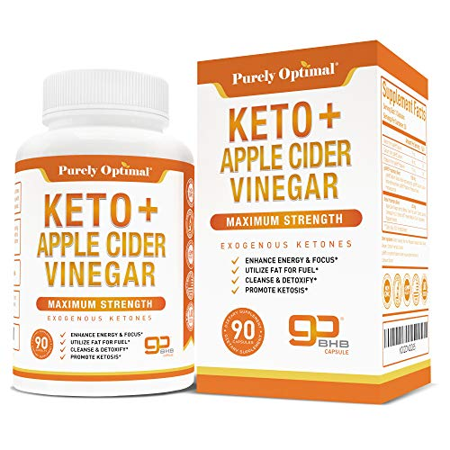 Premium Keto Pills + Apple Cider Vinegar Capsules with Mother - Utilize Fat for Energy w/Ketosis, Boost Energy & Focus, Manage Cravings, Detox, Metabolism Support - BHB Keto Diet Pills for Women, Men
