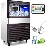 VEVOR 110V Commercial Ice Maker 155LBS/24H with 39LBS Bin Clear Cube, LED Panel, Stainless Steel, Auto Clean, Include Water Filter, Scoop, Connection Hose, Professional Refrigeration Equipment