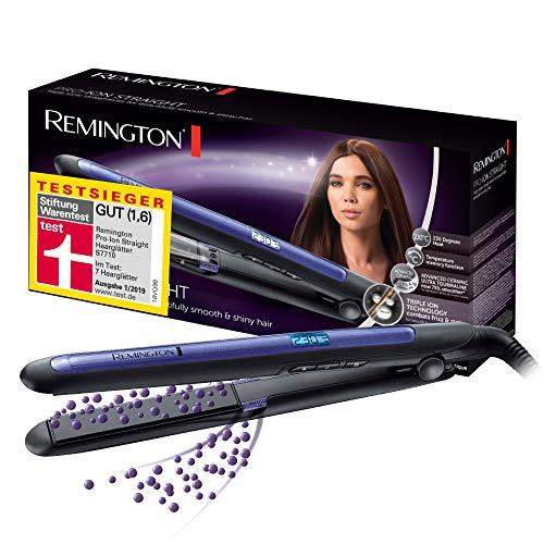 Remington Haarglätter Pro-Ion Straight S7710 zum Glätten & Locken, Testsieger, dreifache Ionen-Technologie, Glätteisen mit Ultra-Turmalin-Keramikplatten, LED Display mit 9 Temperatureinstellungen