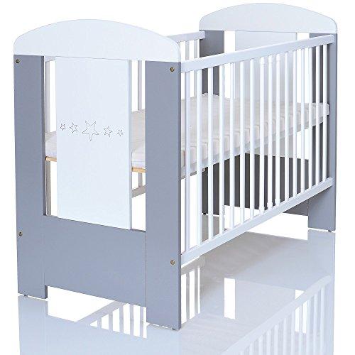 Kinderbett 120x60 cm weiß-grau mit 3-fach Höhenverstellbarer Komfort Matratze und 3 Schlupfsprossen