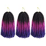 Spring Twist Hair Ombre Colors 3 Packs Synthetic Braiding Hair Extensions 8 inch fashion Crochet Braids (3 Packs,Black Violet Blue)