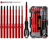 HORUSDY 1000V Insulated Screwdriver Set, 10-Pieces All-in-One Magnetic Tip Electrician screwdriver Set, Phillips & Slotted