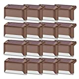 Solar Deck Lights Outdoor, 16 PCS Solar Step LED Waterproof Lighting for Outdoor Deck, Patio, Stair, Yard, Path and Driveway (Warm White)