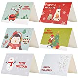 Kesote 24 Piezas de Tarjetas de Navidad de 6 Modelos con Diseos de Flores 24 Tarjetas + 24 Pegatinas Navideas + 24 Sobres