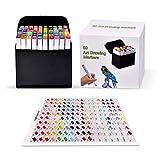 Pachock 60 color Arte Dibujo Marcadores de Punta Doble - Doble Cara Marcadores del Bosquejo del...