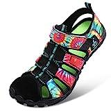 JIASUQI Summer Sports Pool Beach Aqua Water Shoes Athletic Hiking Sandals for Women Girl Black 8.5Women/7Men